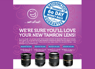 Tamron 60 Day Money Back Guarantee